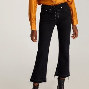 Zara The Bootcut Jeans with Lace-Up Fly & Raw Hem